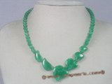 jn012 wholesale green peach shape jade beads necklace