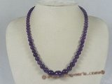 jn016 purple gradual change round shape jasper beads necklace