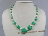 jn021 green gradual change peach shape jade beads necklace with pearl--summer collection
