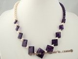 jn023 gradual change square amethyst beads necklace with  pearl--summer collection