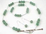 jnset002 Sterling silver chinese green jade TIN-CUP necklace jewelry set
