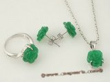 jnset003 Fashion 11mm carve flower design chinese green jade jewelry set in silver plated