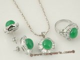 jnset007 Silver plated 10mm semi round green jade jewelry set inlaid with zircon