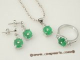 jnset008 semi round green jade jewlery set inlaid with silver plated mounting