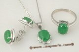 jnset009 Handcrafted sterling silver 8*10mm oval green jade jewelry set