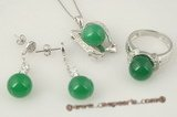 jnset012 10mm round green jade pendant necklace jewelry set inlaid with zircon