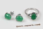 Jnset013 Oval Green Jade Ring and Earrings Jewelry Set, Silver Toned