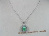 Jp001 silver Green jade pendants in oval shape--summer collection