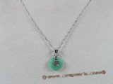 Jp004 Green jade longevity pendants in Donut shape--summer collection