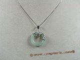 Jp008 Sterling silver 25mm Donut shape Green jade pendants