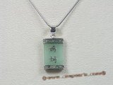 Jp010 Sterling Silver Genuine green Jade Chinese Motif Pendant