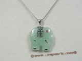 Jp012 Sterling Silver elephant design light green Jade pendant