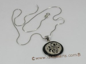Jp013 Sterling Silver black agate Chinese Motif Pendant