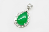 Jp022 Sterling Silver Green Jade Pendant in wholesale