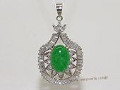 Jp026 Silver Tone Green Gemstone  Pendant with Zircon Beads