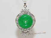 Jp027 Silver Tone Green Gemstone  Pendant with Zircon Beads