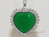 Jp028 Silver Tone Green Gemstone   Pendant with Zircon Beads