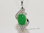 Jp030 Silver Tone Green Gemstone   Pendant with Zircon Beads