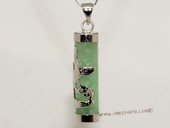 Jp032 Chinese Green Gemstone   Pendant With Silver Tone Fitting