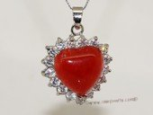 Jp033 Silver Tone Red Color Gemstone Pendant with Zircon Beads