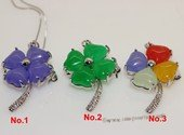 Jp035  Silver Tone 22*42mm Flower shape Color Gemstone pendants Brooch