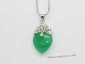 Jp043 Silver plated Green jade gemstone pendants in heart shape