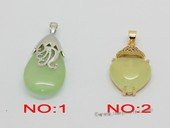 Jp044 Fashion jade gemstone pendants in metal mounting