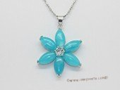 Jp045  Silver Tone Flower shape pendant with jade gemstone