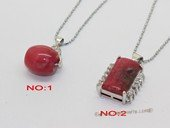 Jp047 Silver Tone Red Color Gemstone Pendant with Zircon Beads