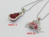 Jp048 Silver Tone Red Color Gemstone Pendant