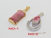 Jp049 Red Color Gemstone Jade Pendant with Zircon Bead
