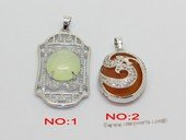 jp052 Fashion Silver Tone Pendant  with Ziron and Oval Gemstone