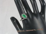 jr001 silver plated Green jade ring,us size 7--summer collection