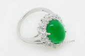 Jr002  10*14mm Oval Green Jade Sterling Silver Ring,us size 7