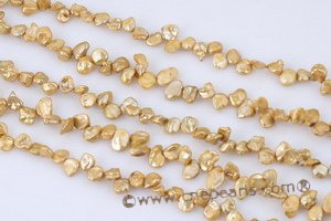 Pearl beads,7-8mm champagne color side drilled reborn keshi pearls keshi042 Cnepearls Ltd :  wholesale keishi pearl strand keishi pearls