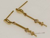 kem013 18K Yellow Gold Stud Earrings Mounting with Diamonds