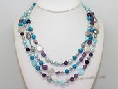 lmpn009  Mix color  freshwater pearl  multi-strand necklace in wholesale