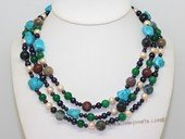 lmpn010  Mix color  freshwater pearl  multi-strand necklace in wholesale