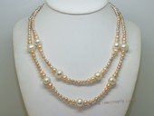 lmpn012 3-5mmmm pink potato pearl with 11-12 white potato pearl necklace