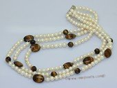 lmpn014 6-7mmmm white potato pearl with tiger eye gemstone necklace