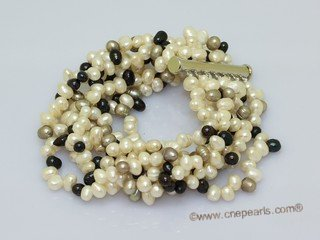 lpbr004 Cultured pearl 7 strands bracelet with low quality side-drilled pearl