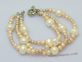 lpbr006 Hand Knotted Potato Pearl Triple Strands Bracelet in Low Quality