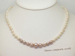 lpn019 Fashion freshwater rice cultured pearl necklace in wholesale