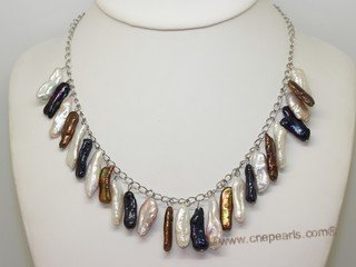 lpn021  Mix Color Biwa Freshwater Pearl Silver Tone Chain Necklace