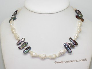 lpn022 White Color Freshwater Pearl Necklace with biwa Pearls