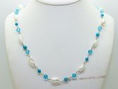 lrpn025 Hand wired man made gemstone and discount pearls long necklace
