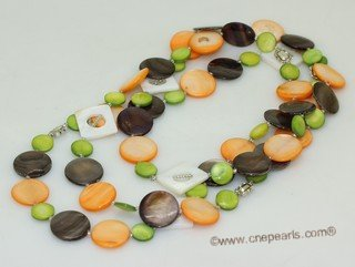lrpn026 mix color  shell beads long necklace--Discount Collection
