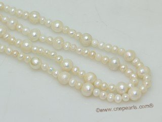 lrpn027 white color potato shape freshwater pearl  Opera necklace