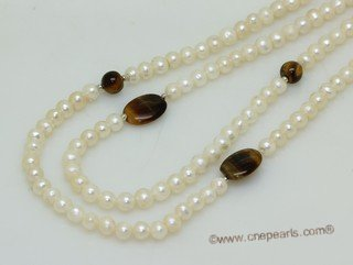 lrpn029 6-7mm white potato pearl with tiger eye stone rope necklace in wholesale