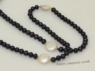 lrpn031 4-5mmmm black potato pearl with 12-13 coin pearl long necklace